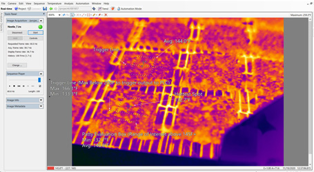 Thermal imaging in industrial food oven